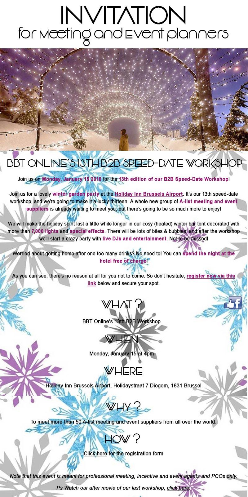 BBT ONLINE'S 13th B2B SPEED-DATE WORKSHOP